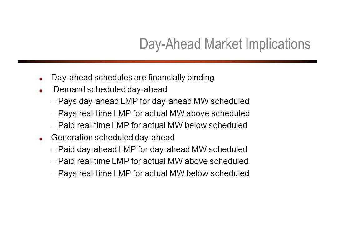 Day-Ahead Market Implications