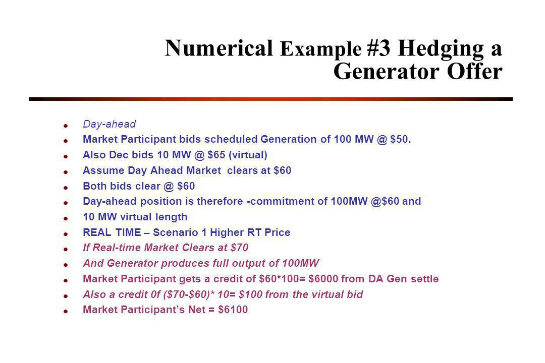 Numerical Example #3 Hedging a Generator Offer