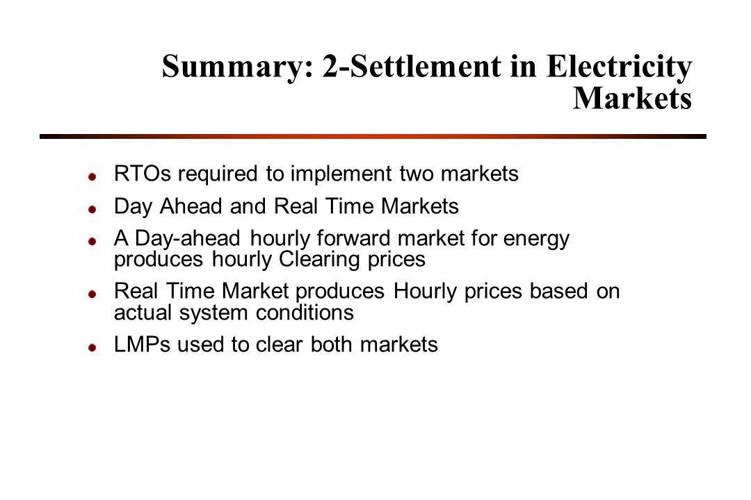 Summary: 2-Settlement in Electricity Markets