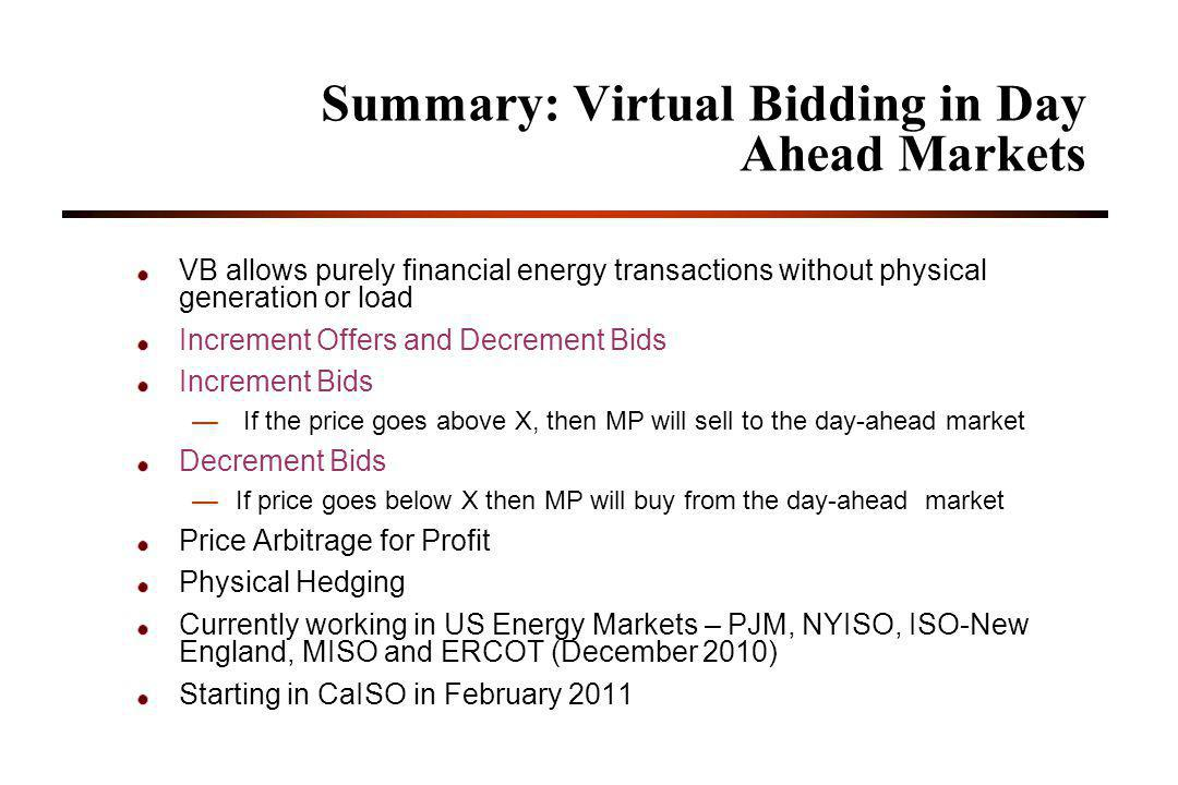 Summary: Virtual Bidding in Day Ahead Markets