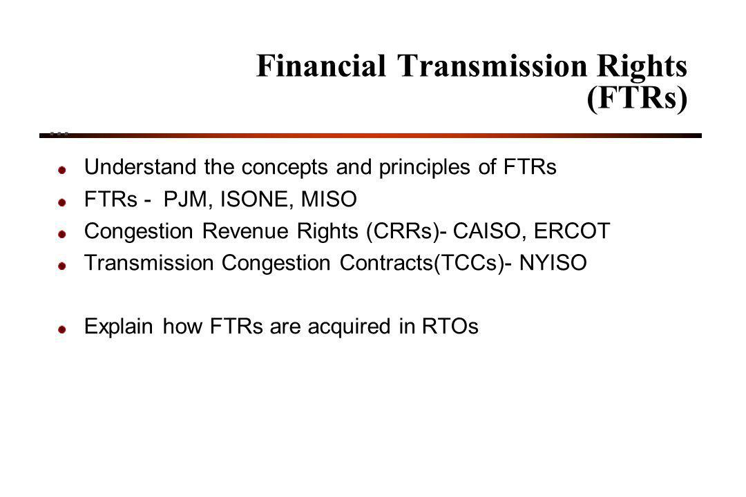 Financial Transmission Rights (FTRs)