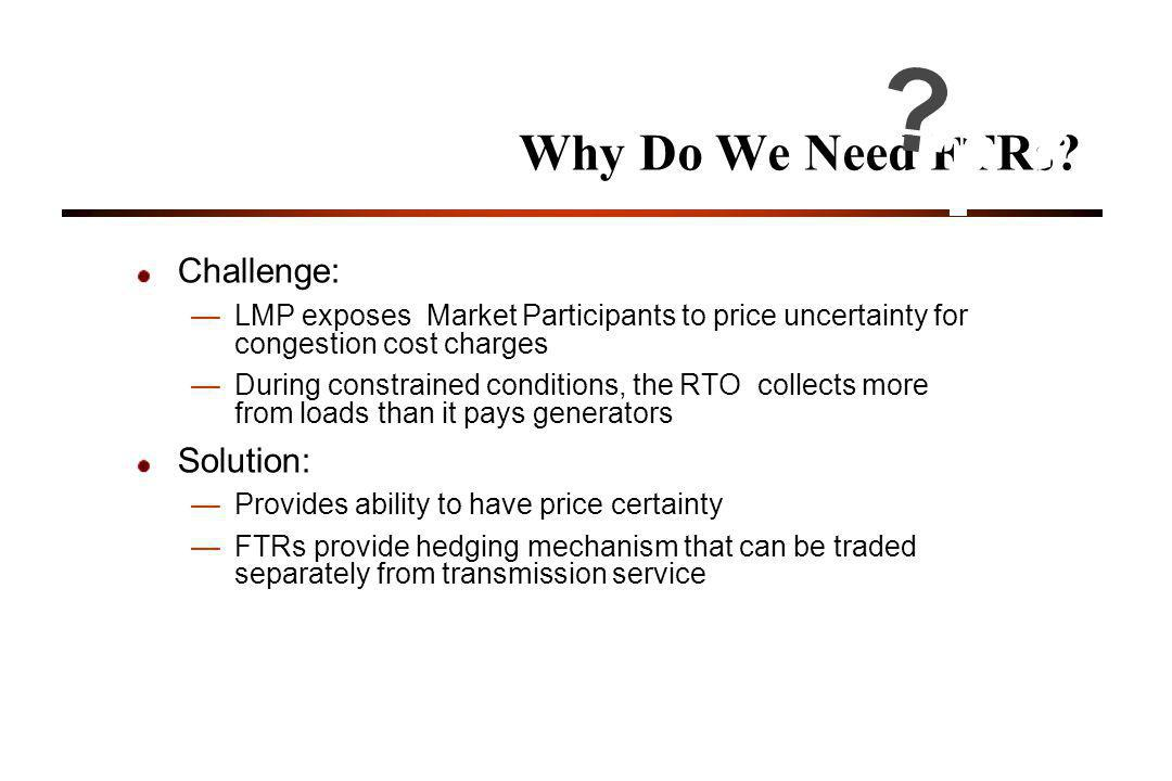 Why Do We Need FTRs Challenge: Solution: