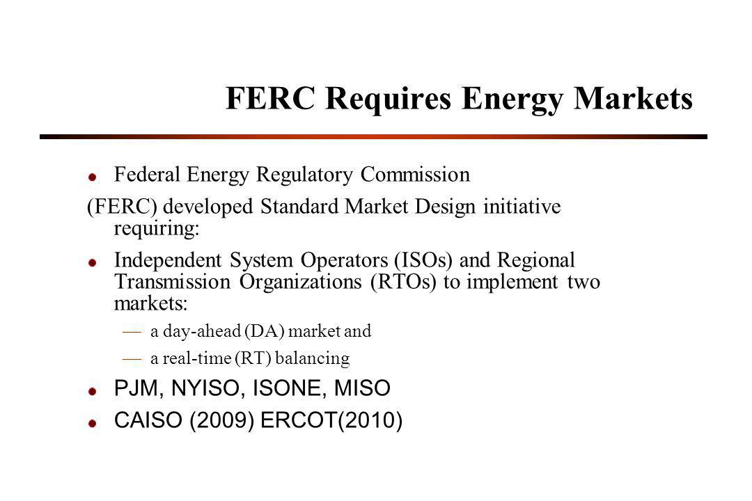 FERC Requires Energy Markets