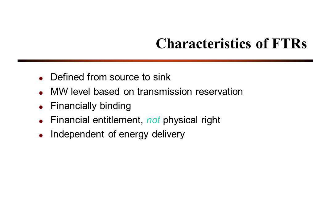 Characteristics of FTRs