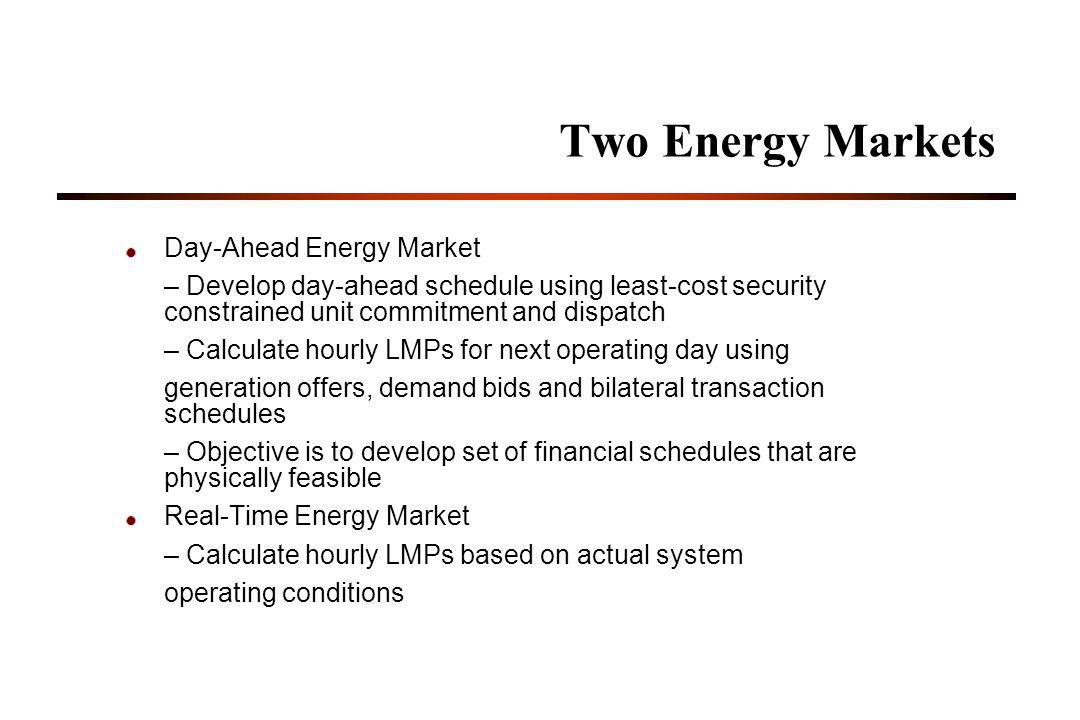 Two Energy Markets Day-Ahead Energy Market