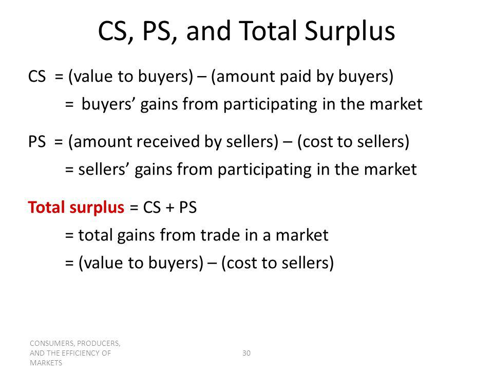 CS, PS, and Total Surplus CS = (value to buyers) – (amount paid by buyers) = buyers' gains from participating in the market.