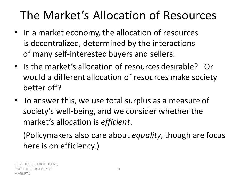 The Market's Allocation of Resources