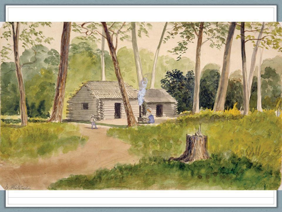Ch. 9, Image 9 A watercolor by the artist Edwin Whitefield depicts a squatter's cabin in the Minnesota woods.