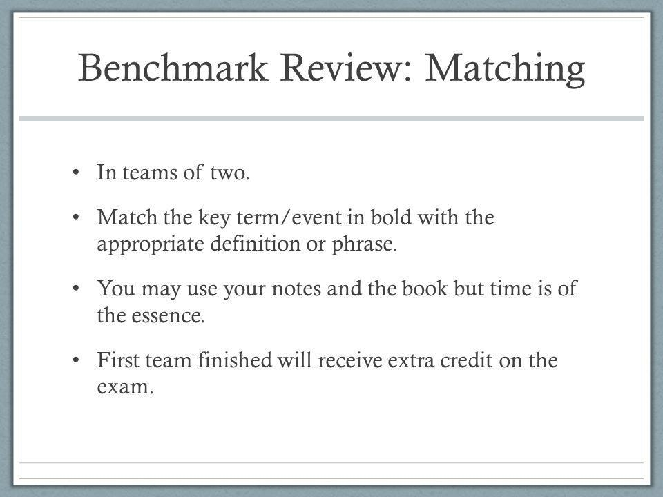 Benchmark Review: Matching