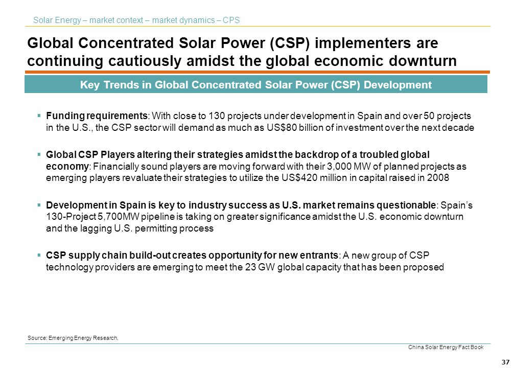 Key Trends in Global Concentrated Solar Power (CSP) Development