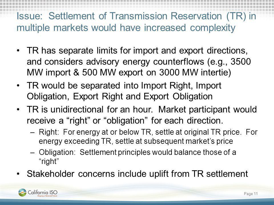 Issue: Settlement of Transmission Reservation (TR) in multiple markets would have increased complexity