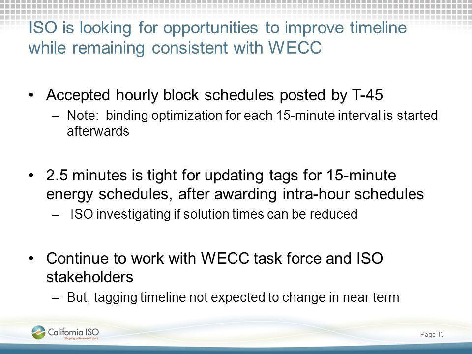 ISO is looking for opportunities to improve timeline while remaining consistent with WECC