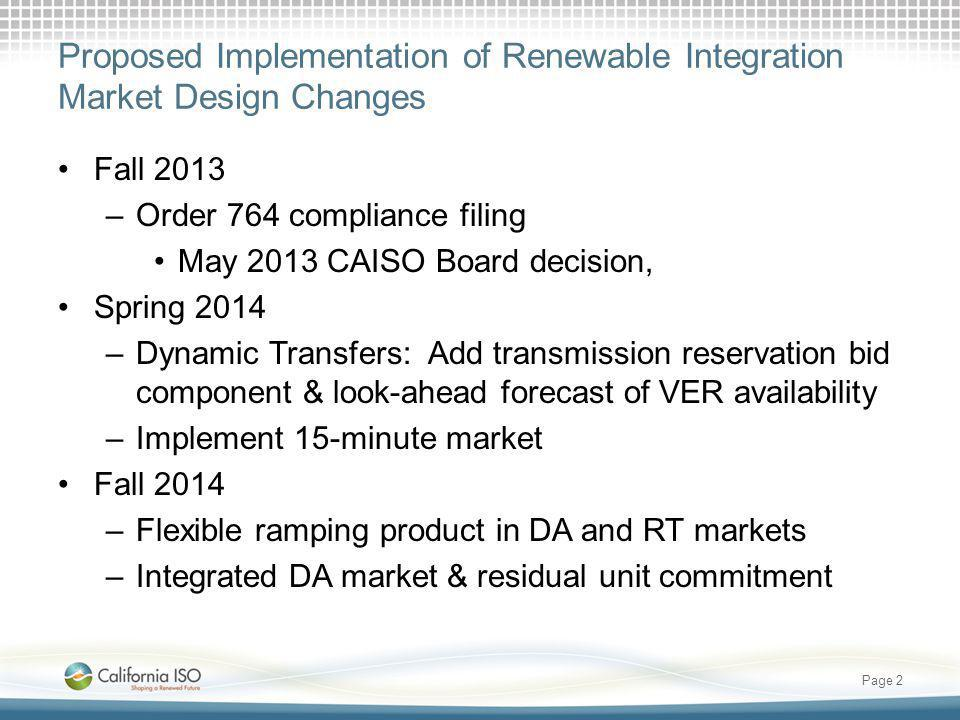 Proposed Implementation of Renewable Integration Market Design Changes