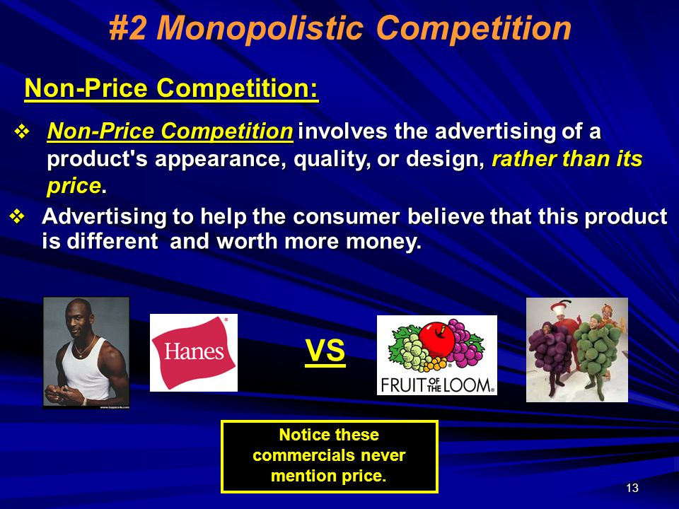 non competitive market examples In economics monopoly and competition signify  aspects of market structure that underlie the competitive  there are no market.