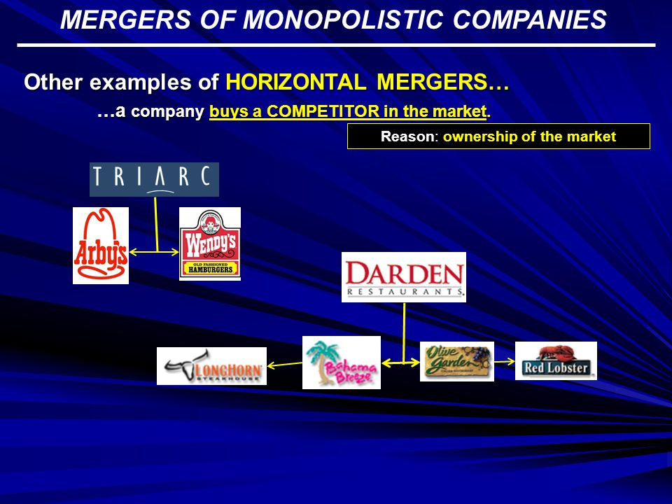 MERGERS OF MONOPOLISTIC COMPANIES