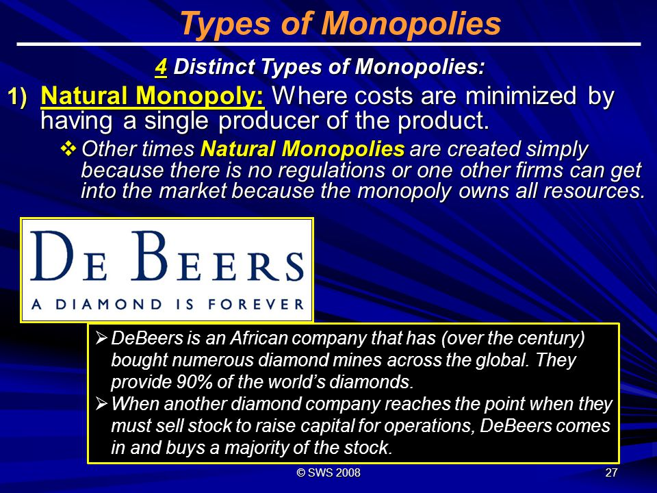 Types of Monopolies 4 Distinct Types of Monopolies: Natural Monopoly: Where costs are minimized by having a single producer of the product.