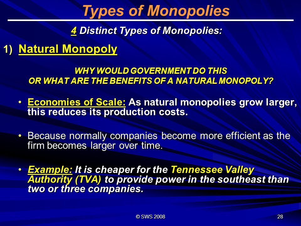 Types of Monopolies Natural Monopoly 4 Distinct Types of Monopolies: