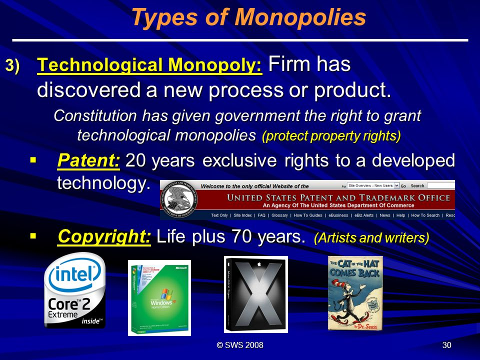 Types of Monopolies Technological Monopoly: Firm has discovered a new process or product.