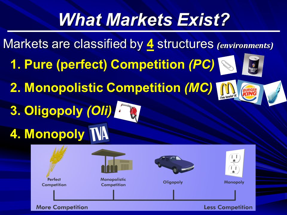 What Markets Exist Markets are classified by 4 structures (environments) 1. Pure (perfect) Competition (PC)