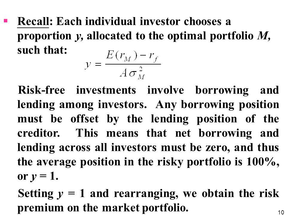 Recall: Each individual investor chooses a proportion y, allocated to the optimal portfolio M, such that: