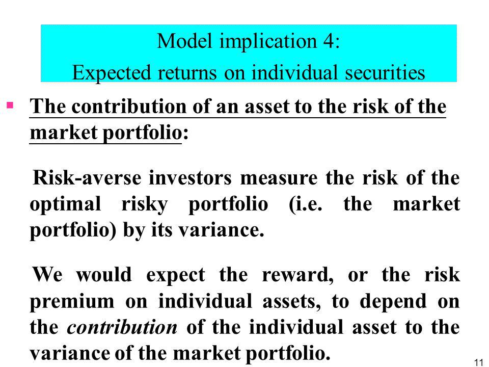 Expected returns on individual securities