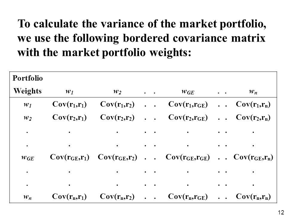 To calculate the variance of the market portfolio, we use the following bordered covariance matrix with the market portfolio weights: