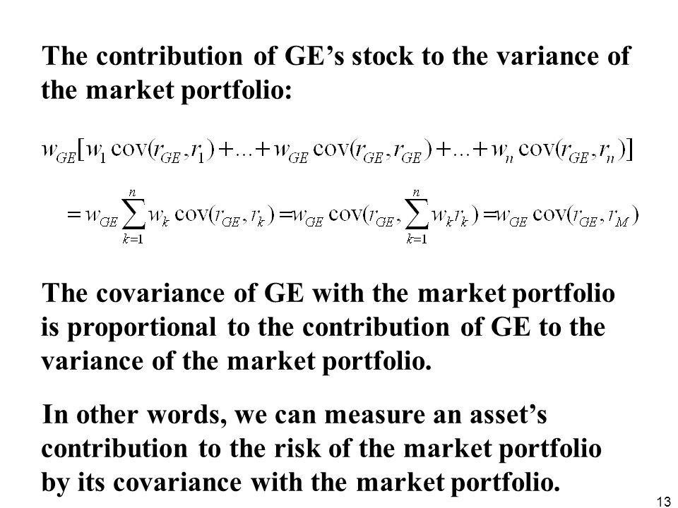 The contribution of GE's stock to the variance of the market portfolio: