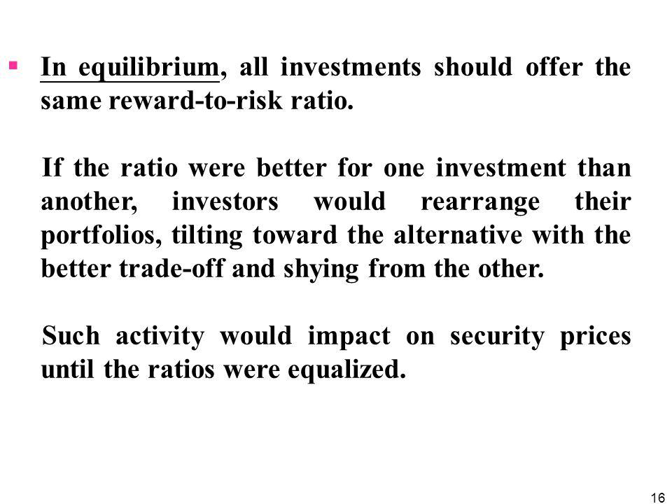 In equilibrium, all investments should offer the same reward-to-risk ratio.
