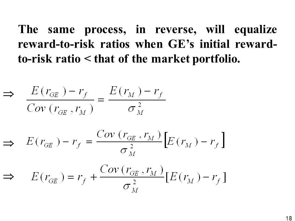 The same process, in reverse, will equalize reward-to-risk ratios when GE's initial reward-to-risk ratio < that of the market portfolio.