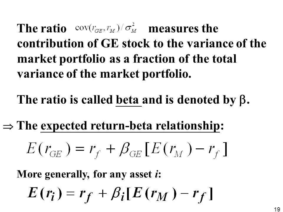 The ratio measures the contribution of GE stock to the variance of the market portfolio as a fraction of the total variance of the market portfolio.