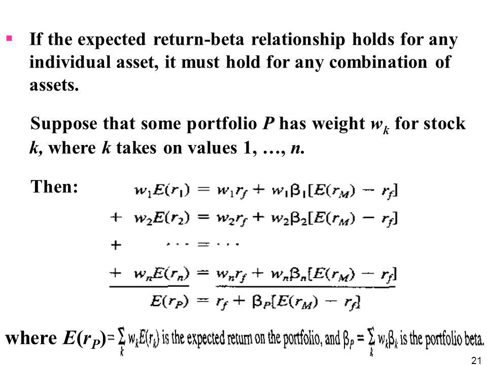 If the expected return-beta relationship holds for any individual asset, it must hold for any combination of assets.