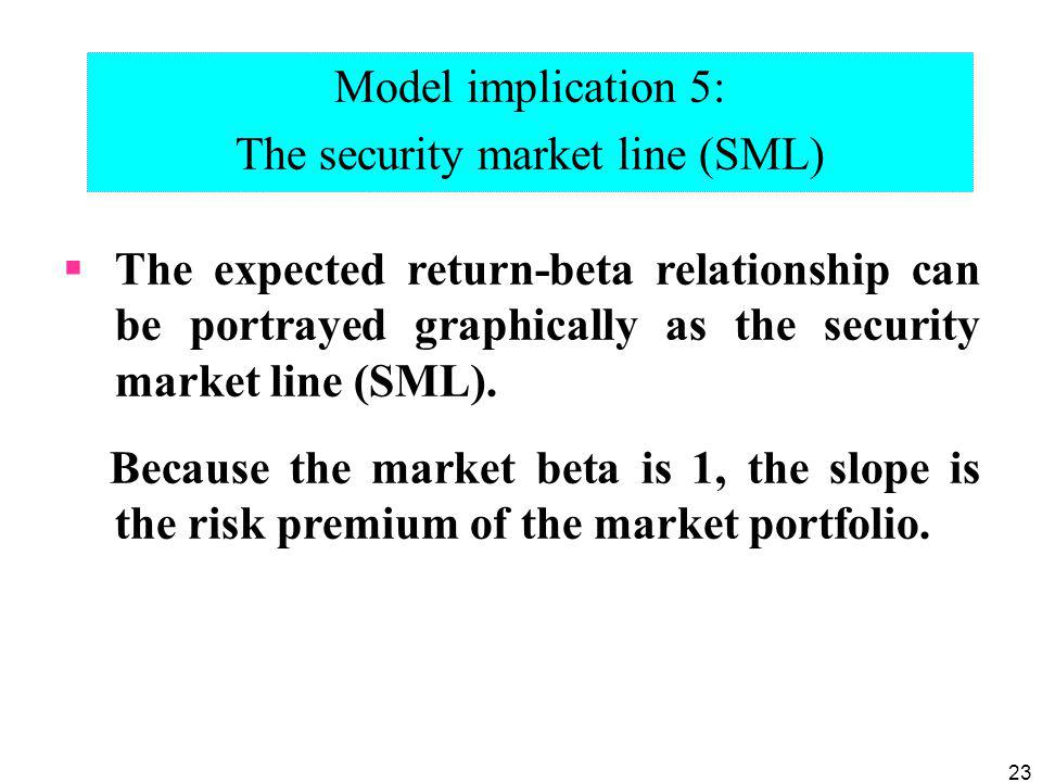 The security market line (SML)