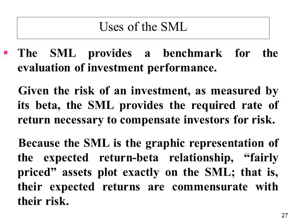Uses of the SML The SML provides a benchmark for the evaluation of investment performance.