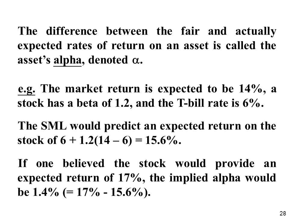 The difference between the fair and actually expected rates of return on an asset is called the asset's alpha, denoted .