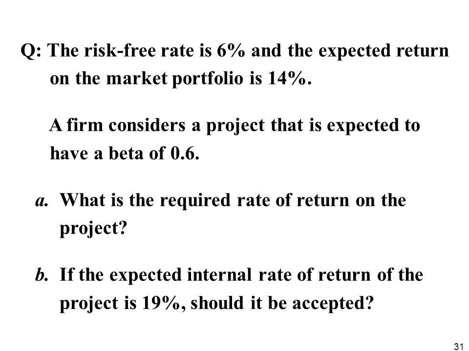 Q: The risk-free rate is 6% and the expected return