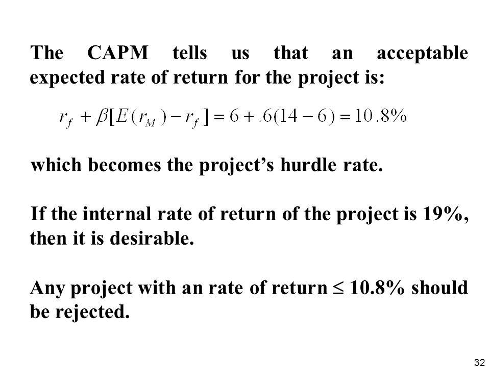 The CAPM tells us that an acceptable expected rate of return for the project is: