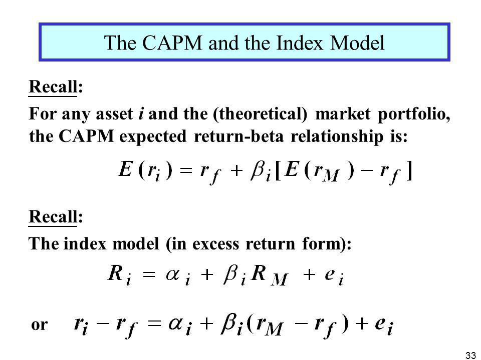 The CAPM and the Index Model