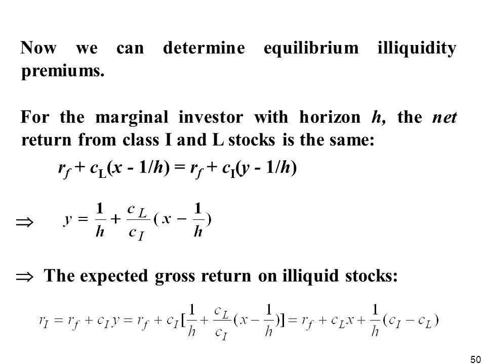 Now we can determine equilibrium illiquidity premiums.