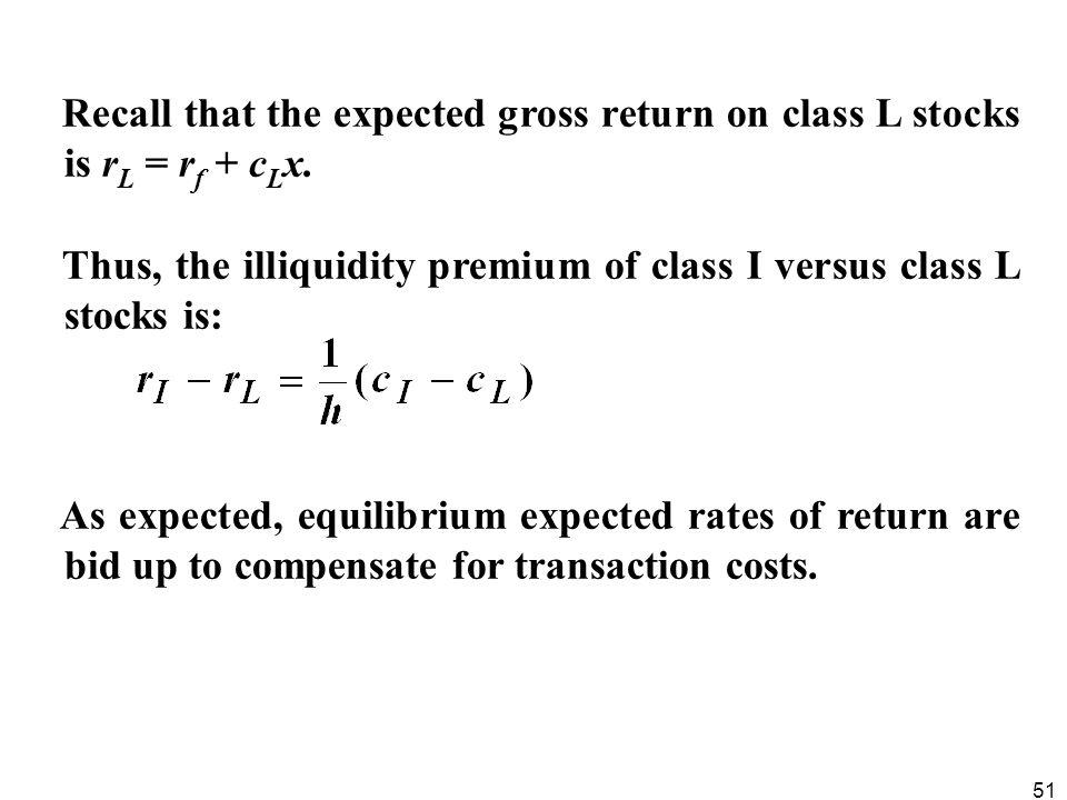 Recall that the expected gross return on class L stocks is rL = rf + cLx.