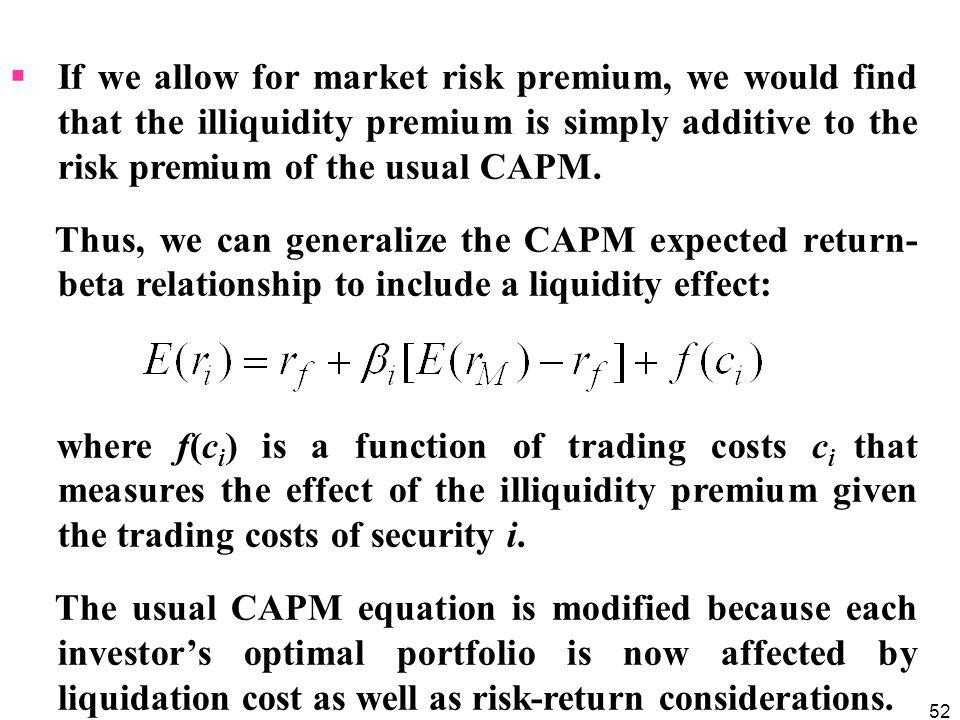 If we allow for market risk premium, we would find that the illiquidity premium is simply additive to the risk premium of the usual CAPM.