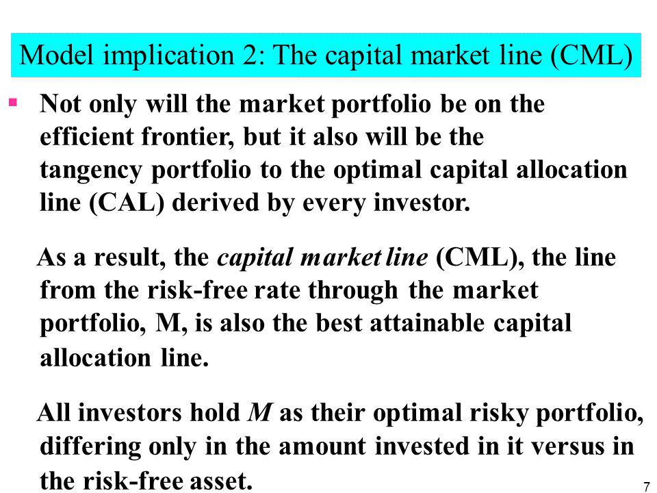 Model implication 2: The capital market line (CML)