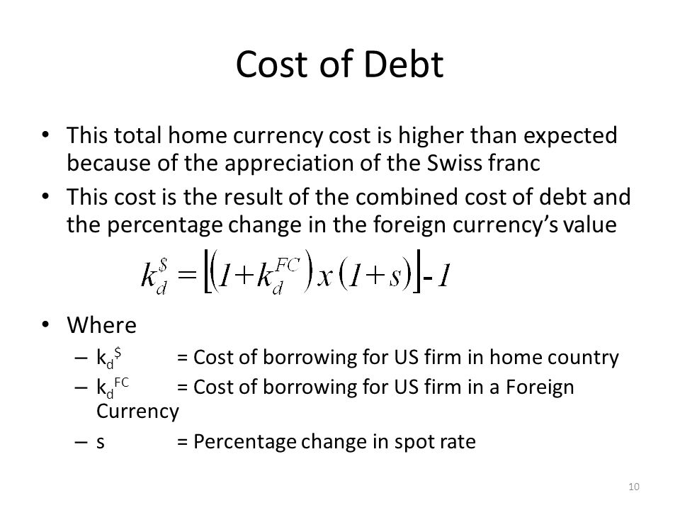 Cost of Debt This total home currency cost is higher than expected because of the appreciation of the Swiss franc.