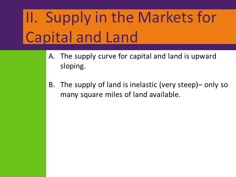 II. Supply in the Markets for Capital and Land