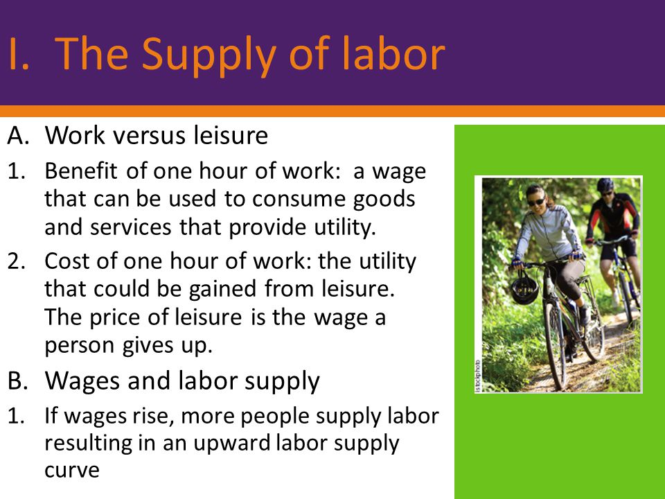 I. The Supply of labor Work versus leisure Wages and labor supply