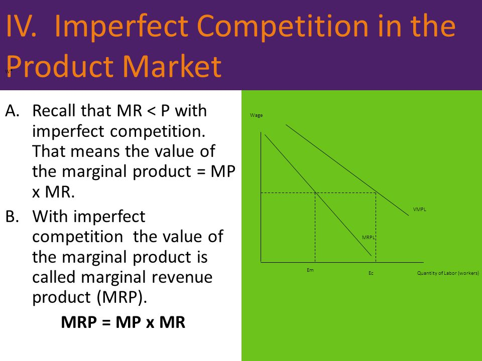 IV. Imperfect Competition in the Product Market