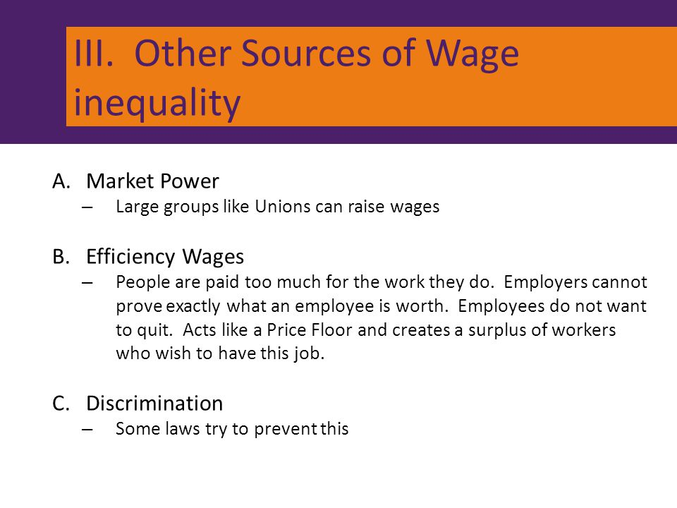 III. Other Sources of Wage inequality