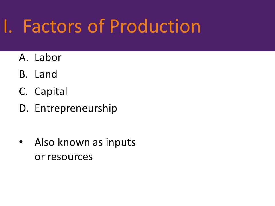 I. Factors of Production