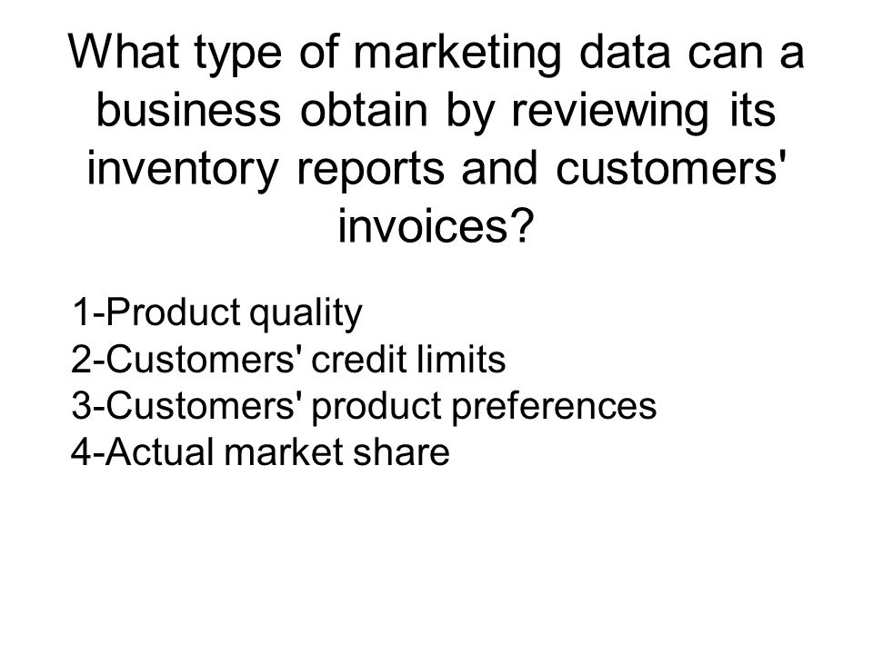 What type of marketing data can a business obtain by reviewing its inventory reports and customers invoices
