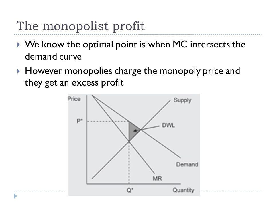 The monopolist profit We know the optimal point is when MC intersects the demand curve.