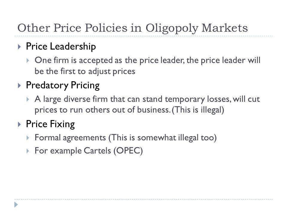 Other Price Policies in Oligopoly Markets